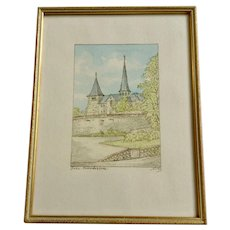 Cathedral Michaelskirche Fulda, Germany Original Small Watercolor Painting Signed by Artist Nols