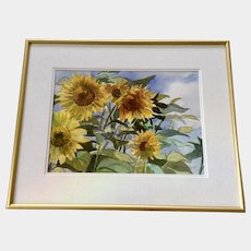 Doloris J Pederson, Sunflowers in the Wind, Watercolor Painting Signed By Kansas Artist