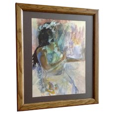 Gorgeous 1980's Polynesian Hula Dancer Hawaii Watercolor Painting Signed By Artist