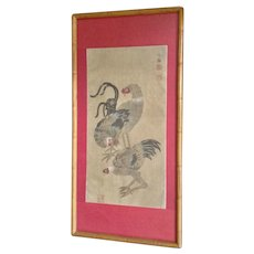 Asian Hens and Rooster Birds Chinese Watercolor Paintings on Silk Signed by Artist Monogram Vanguard Studios #2614 Mid-Century