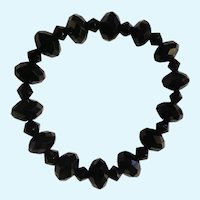 Beautiful Black Sparkling Glass Beaded Bracelet on Stretchy Band