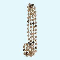 """Pink, Faux Pearl and Bronze Single Strand Endless Beaded Necklace 20-3/4"""""""