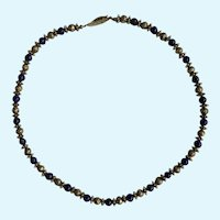 "Silver-Tone Floral and Blue Beaded Necklace 18"" Long"