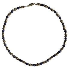 """Silver-Tone Floral and Blue Beaded Necklace 18"""" Long"""