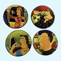 Lynne Naylor Designs Art Coasters Neo-Figurative People Hand Painted Porcelain