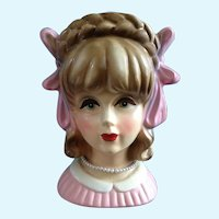 Rubens 4121 Teen Head Vase With Large Pink Bows Figurine