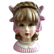 Rubens 4121 Teen Head Vase With Large Pink Bows and Faux Pearl Necklace Headvase