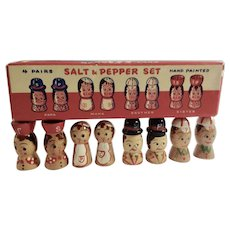 Vintage Salt and Pepper Shakers Family Set of 4 Pairs Papa, Mama, Brother and Sister Wooden Figural People Circa 1950's Japan