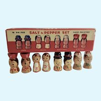 Vintage Salt and Pepper Shakers Wooden Family 4 Pairs Circa 1950's Japan