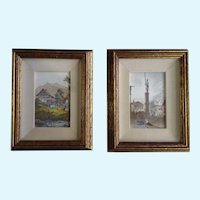Mid-Century Aqua Tint Etchings Rural Town and City Center Framed Art