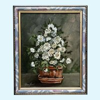 Donna Harris, Still Life Blue Daisies Original Oil Painting