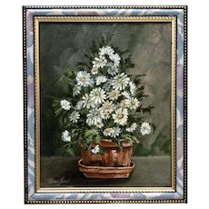 Donna Harris, Still Life of Potted Plant, Blue Daisies Original Oil Painting Signed by Artist