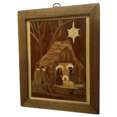 Wood Marquetry Christmas Nativity Scene Baby Jesus Birth Religious Hand Made Signed By Artist