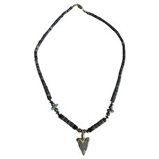 Turquoise Arrowhead Southwestern Style Silver-tone Beaded Necklace
