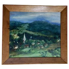C Z Friedgut, European Village Impressionist Landscape Oil painting During WWII 1941 Signed by Artist
