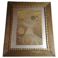 Large Paul Berthon (1872-1909) Sa Tres Gracieuse Majeste La Reine Wilhelmine Golden Girl Portrait With Tulips Lithograph Print
