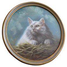 Original Pastel Fluffy Kitty Cat Portrait with Green Eyes Old Painting 19th Century