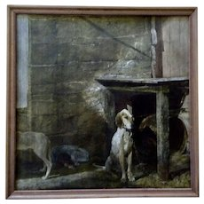 Andrew Wyeth Raccoon 1970's Collotype Lithograph Print of Dogs