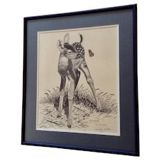 William L. Chesser Baby Deer with Butterfly, In His Fathers Footsteps Limited Edition Print Signed and Numbered