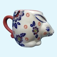 Bunny Rabbit Ceramic Mug Yokohama Studio Miyabi Hand Painted Floral Cup