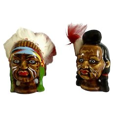 Vintage Anco Indian Southwestern Chief Native American Hand Painted Salt and Pepper Shakers Japan