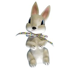 Vintage Ceramic Mid-Century Bunny Rabbit with Old Mylar Glitter Hand Painted