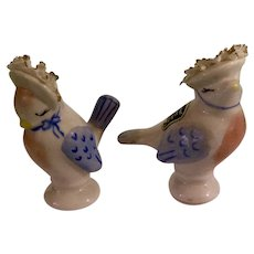 Heirlooms of Tomorrow Salt and Pepper Shakers Bird Applied Lace Vintage Hard to Find