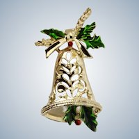 Christmas Bell with Sparkle Holly Pin