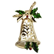 Beautiful Gold-tone Christmas Bell with Sparkle Holly Pin