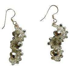 Vintage Beautiful Silver-tone Sparkle Fish Hook Pierced Earrings