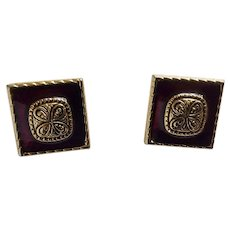 Plum Wine Colored Square Gold-tone Pierced Earrings