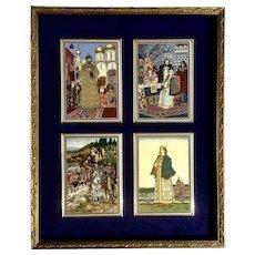 Vintage 4 Framed Russian Princess Tiles Signed with Cyrillic Script BZ (Be Dje) Offset Prints