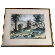 Pauline Morrell,  Barn Landscape Watercolor Signed By Artist on Arches Paper