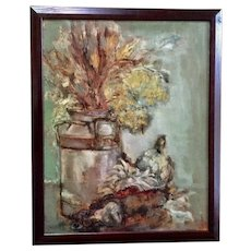 Helen L. Waddell, Old Milk Jug Country Kitchen Still Life Oil Painting
