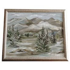 Veon Mendenhall, Mountain  Landscape, Titled, Pine Trees in Winter 1973 Oil Painting Signed BY Artist