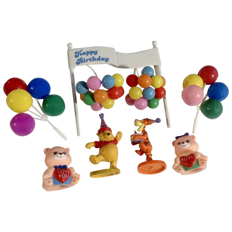Vintage Balloons Winnie The Pooh Tigger Birthday Banner Cake Toppers Group