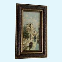 Beautiful Venice Italy Print in Original Frame Cicra 1960's