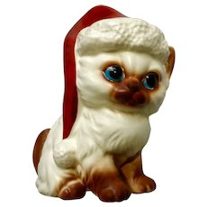 Norcrest Christmas Kitty Cat with Santa Hat X440 White Mid-Century Kitten Ceramic Figurine