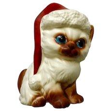 Norcrest Christmas Kitty Cat with Santa Hat X440 White Mid-Century Kitten Ceramic Figurine