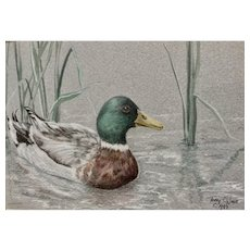 Terry O'Nele, Mallard Duck in Pond Reeds Mixed Media Painting Signed by Colorado Artist
