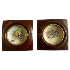 Josef Leo Henke, Kalamazoo Artist Weisley Studios China Co. Violets and Pansies Hand Painted Porcelain Plates Framed