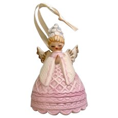 Lefton Praying Angel Bell Porcelain Figurine with Blue Flowers and Pink Dress