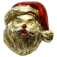Gold-Tone Enamel Painted Santa Claus with His Jolly Christmas Hat and Smile Brooch Pin