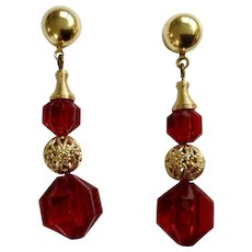Ruby Red and Gold Tone Beaded Stud Post Earrings for Pierced Ears Costume Jewelry