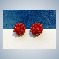 Vintage Vivid Red Beaded Screw Back Earrings