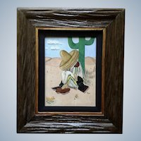 1965 Siesta Man in Sombrero Oil Painting in Beautiful Wood Frame Initialed CW By Artist