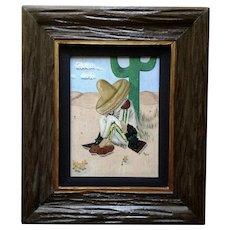 1965 Siesta Man in Sombrero Oil Painting