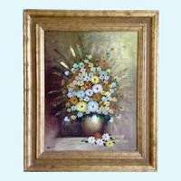 Grimmer, Mid-Century Still Life Bouquet of Wildflowers Oil Painting