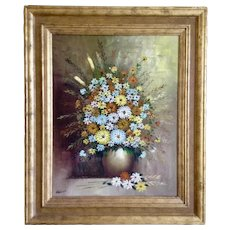 Grimmer, Mid-Century Still Life Large Bouquet of Wildflowers Oil Painting Signed by Artist