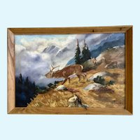 1949 Elk Bugling Call in Mountainous Landscape Oil Painting